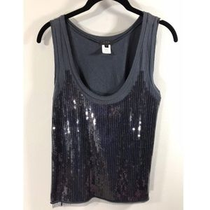 J. Crew Collection Tissue Sequin Tank Slate M
